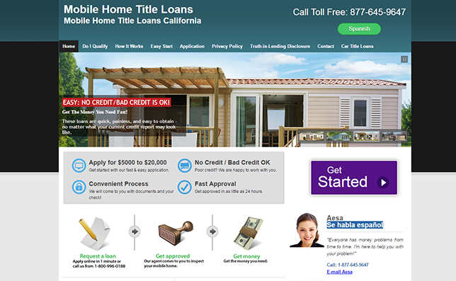 Mobile Home Title Loans Website